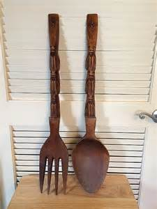 big wooden fork and spoon monkey pod carved wooden spoon