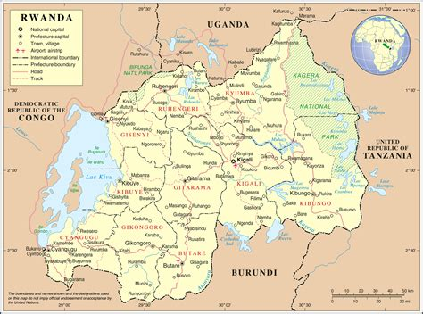large detailed political  administrative map  rwanda