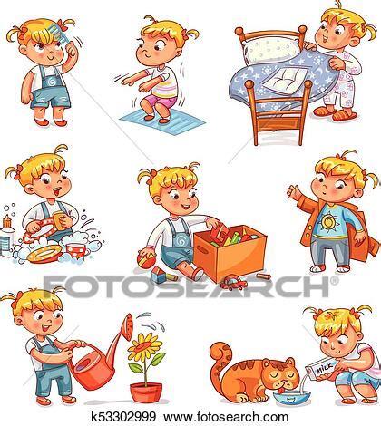cartoon kid daily routine activities set clip art