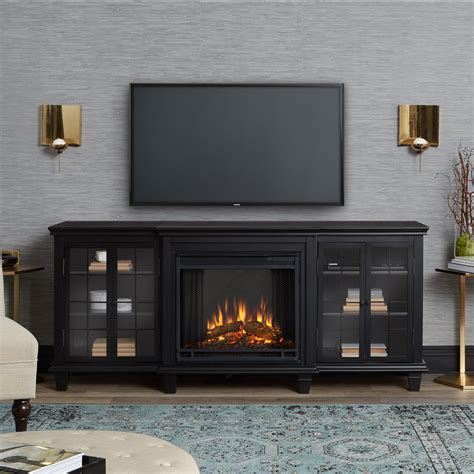 marlowe electric entertainment fireplace  black  real