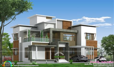 4 BHK box type modern home - Kerala home design and floor