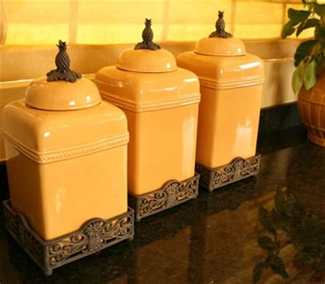 yellow canister sets kitchen mustard yellow pineapple top kitchen canister set only one
