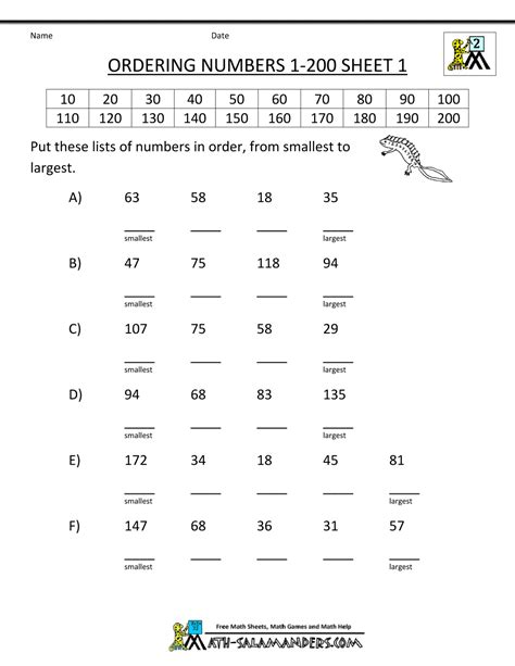 basic math worksheets 2 ordering numbers to 1000