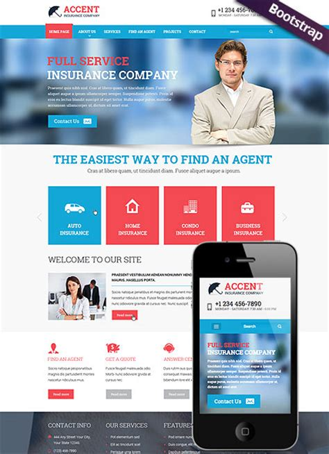 travel insurance website template accent insurance company responsive website template