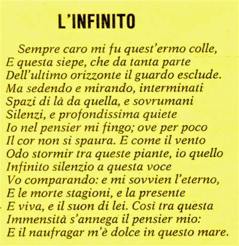 Mi Illumino D Immenso Testo by Giacomo Leopardi L Infinito Ital 305b Sp2016