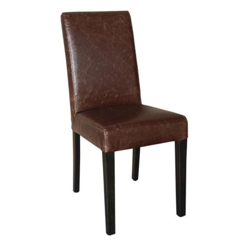 chaise simili cuir marron chaise dossier haut en simili cuir bolero marron patine x2