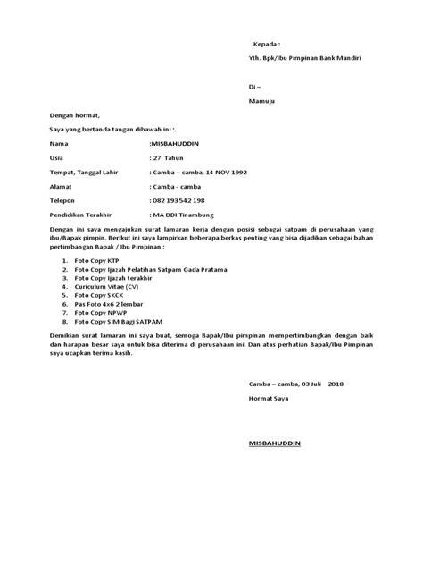contoh surat lamaran kerja satpol pp kumpulan contoh surat