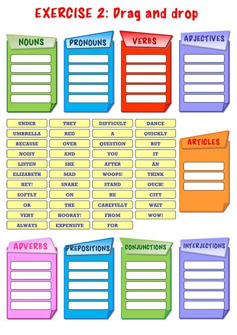 parts  speech interactive worksheet