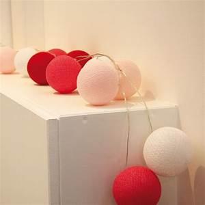 Guirlande Lumineuse Boule Rose : guirlande lumineuse 20 boules en coton longueur 5m atelier de famille rose guirlande ~ Melissatoandfro.com Idées de Décoration