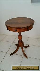 vintage antique federal style solid walnut 1 drawer drum With retro 1 drawer lamp table