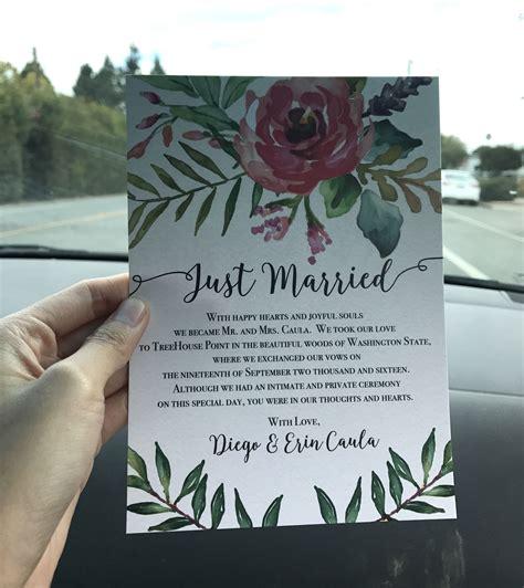 colorful  creative elopement announcement card idea