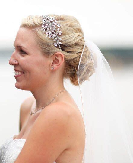headband wedding  bun veil smy  updo  veils