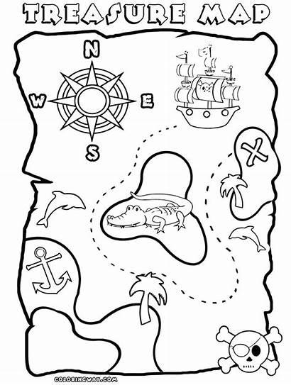 Coloring Treasure Pirate Map Printable Maps Template