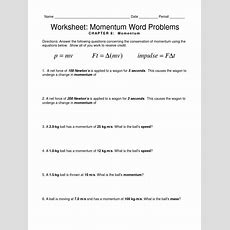 Worksheet Ch Equation Review Momentum Word Problemspdf