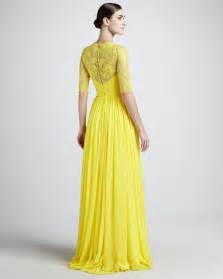 yellow dress for wedding free shipping designer lace floral neck pleated half sleeves yellow evening dresses