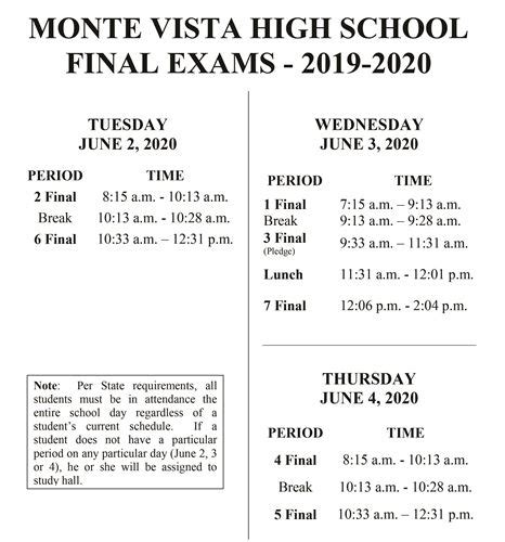 monte vista high school bell schedules