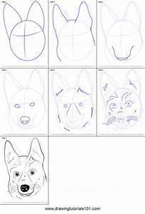 How To Draw German Shepherd Dog Face Printable Step By