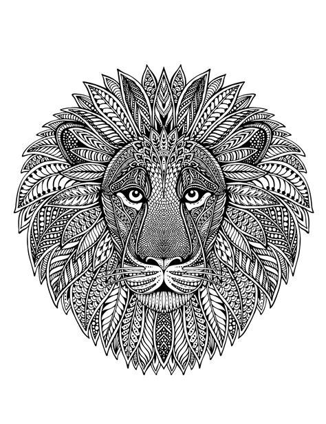 lion head  mandala malas adult coloring pages