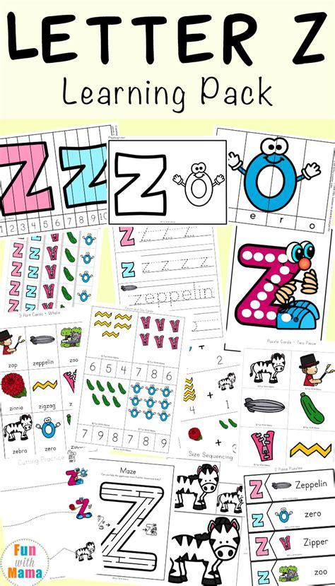 letter z worksheets for preschool kindergarten 827   Letter Z Learning Pack P