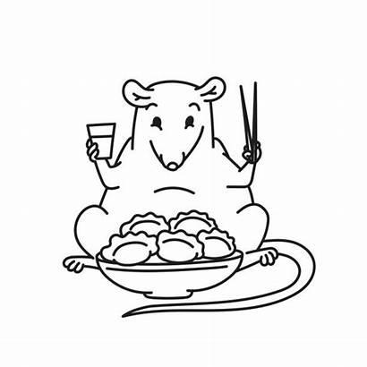 Chopsticks Outline Rat Chinese Cartoon Mouse Clip