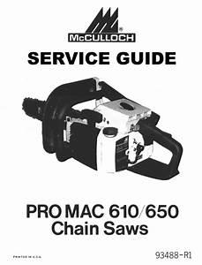 Mcculloch 610  U0026 650 Service - Repair Guide