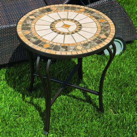 mosaic outdoor side table alfresco home compass mosaic side table wayfair