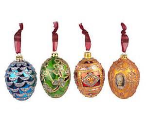 joan rivers set of 4 fabergeinspired christmas ornaments qvc com