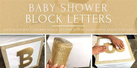 baby shower block letters   glamorous penny pincher totally dazzled
