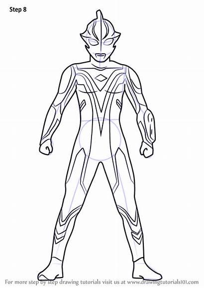 Ultraman Draw Mebius Drawing Step Gambar Coloring