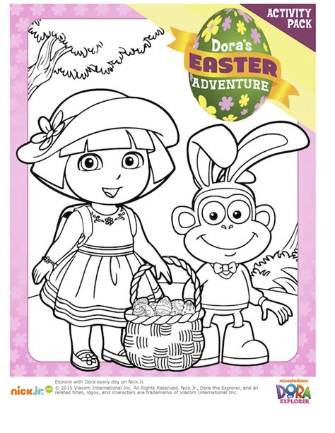 Dora Easter Coloring Pages Book Printable