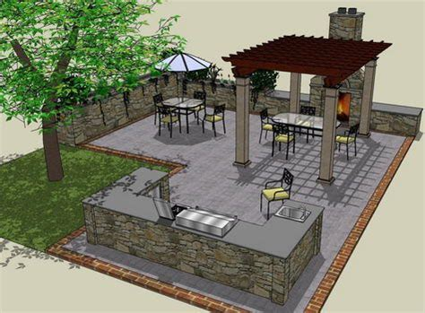 outside kitchen design plans patio layout with outdoor kitchen area would do small covered pergola on top of bar area as