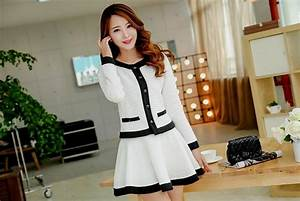 Korean black and white casual dress Naf Dresses