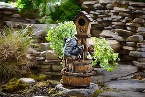 Essential, Garden, Bird, House, Barrel, Fountain, With, 2, Led, Lights, -, Outdoor, Living