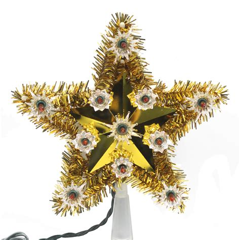 trim a home 174 gold tinsel star christmas tree topper 10 quot 11 quot