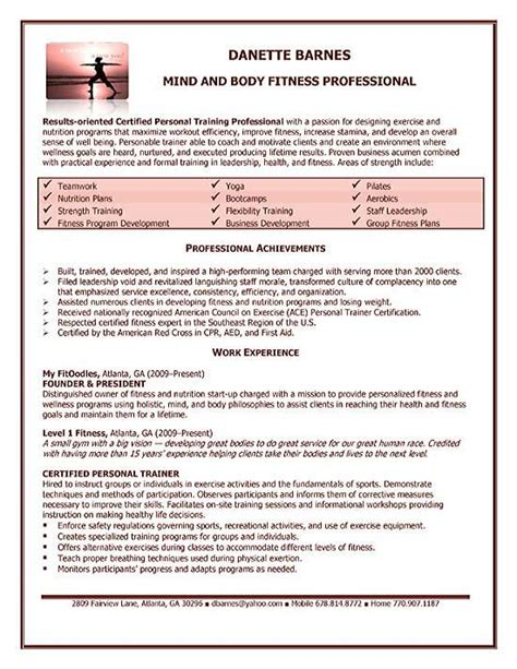 personal trainer resume examples good resume examples