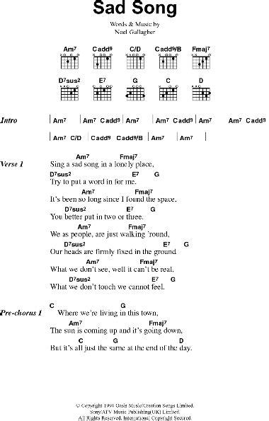 sad song guitar chordslyrics zzounds