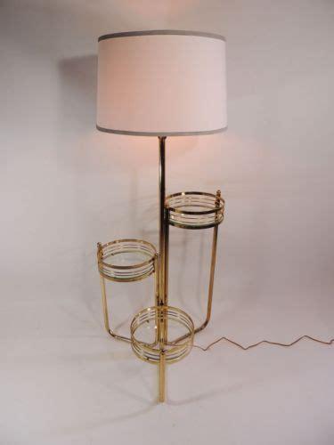 mid century modern brass floor l stand w 3 attached