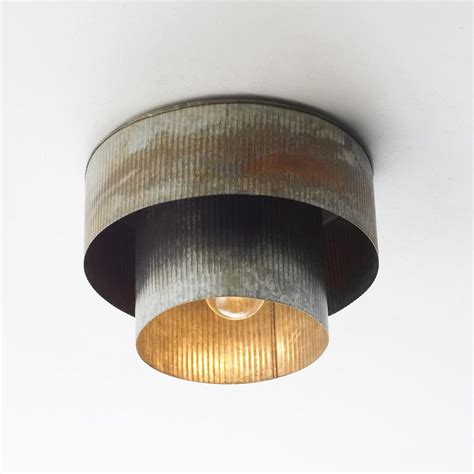 corrugated tin drum ceiling light industrial drums and sons