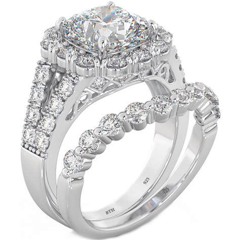 cushion cut cz halo 925 silver wedding engagement bridal ring