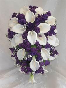PURPLE LAPIS ~ Calla Lilies Roses ~ CASCADE Bridal BOUQUET ...