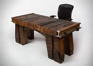 Timbertop Desk is a rustic design office desk by Rail Yard