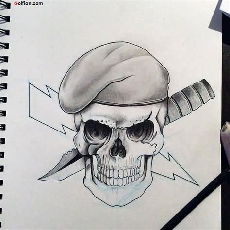 Horrible Army Skull Tattoo Pictures Scary