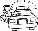 Police Coloring Officer Policeman Drawing Clipart Advertisement Cars sketch template