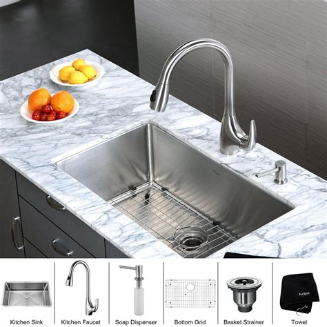 kitchen sink and faucet sets kraus khu100 30 kpf2170 sd20 single bowl kitchen sink and