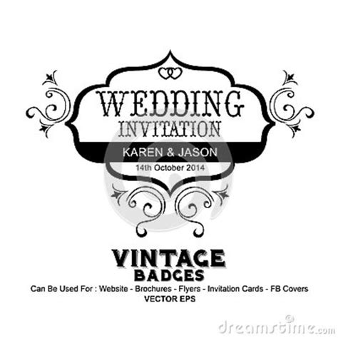 Vintage Labels Wedding Invitation Stock Vector