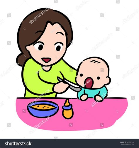 Mother Feeding Her Baby By Spoon Stock Vector 305157200