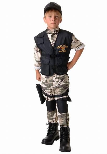 Boys Costume Military Uniform Seal Child Team