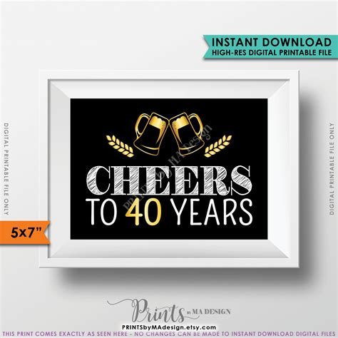 Black And Gold 50th Birthday Decorations by Cheers To 40 Years Birthday Party Decor 40th Birthday