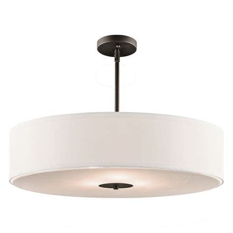 drum light pendant kichler drum pendant light with white shade in olde bronze