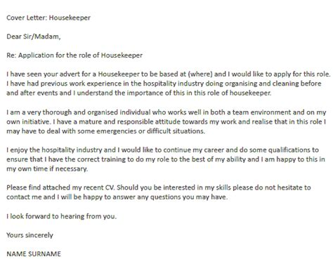 Cover Letter For Hotel Housekeeping Position by Housekeeper Cover Letter Exle Icover Org Uk